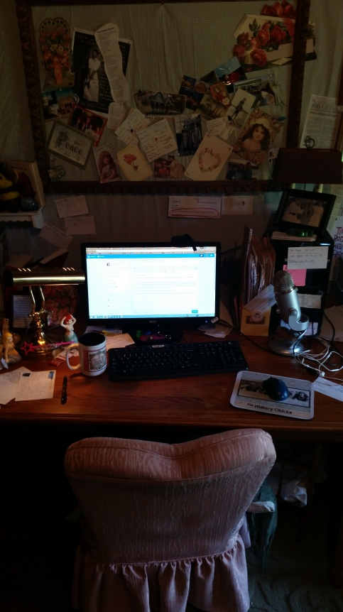 My very messy, unstaged desk where I sit a lot and make clickity sounds with my keyboard.